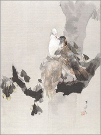 Watanabe Seitei - Pigeons in a Tree