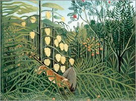 Henri Rousseau - Tiger attacks a buffalo