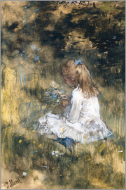Jacob Maris - Daughter of Jacob Maris with flowers in the grass