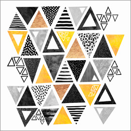 Elisabeth Fredriksson - Triangle abstract   Black and yellow
