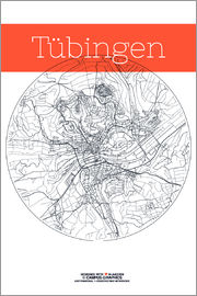 campus graphics - Tübingen map city black and white