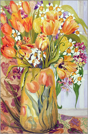Joan Thewsey - Tulips and Narcissi in an Art Nouveau Vase