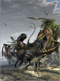 Kurt Miller - Two Giganotosaurus trying to capture a Parasaurolophus.