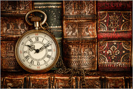 Clock in front of books