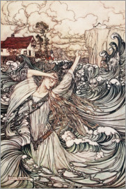 Arthur Rackham - Undine, Soon she was lost to sight in the Danube