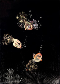 Jean Dunand - Underwater scene with red and golden fish