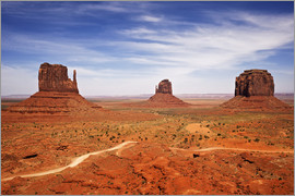 Petr Bednarik - Utah, Monument Valley Overlook. Three mesas standing in the desert.