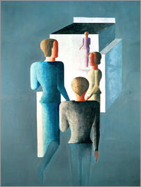 Oskar Schlemmer - Four figures and cube