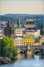 Jason Langley - View of Charles Bridge and buildings in Mala Strana Old Town from Letna Park, on Letna Hill, Prague,
