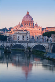 Jane Sweeney - View of St. Angelo bridge over the River Tiber, and St. Peter's Basilica, Rome, Lazio, Italy, Europe