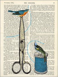 Nory Glory Prints - Vintage Birds sewing antique dictionary art print