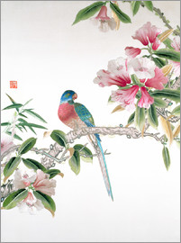Chinese School - Jay on a flowering branch