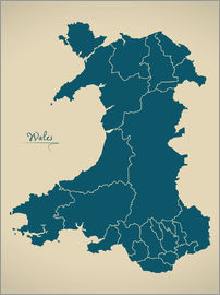 Ingo Menhard - Wales UK Map Artwork petrol