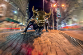 Axiom RF - Wall Street bull at nighttime, Bowling Green; New York City, New York, United States of America