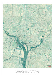 Hubert Roguski - Washington Map Blue