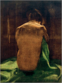 Käthe Kollwitz - Female back on green cloth