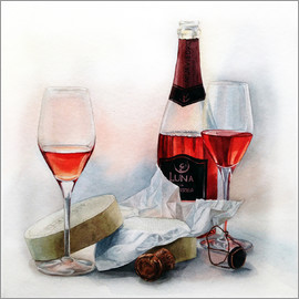 Maria Mishkareva - Wine and cheese watercolor painting