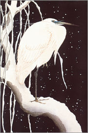 Ohara Koson - White Crane on a snowy road