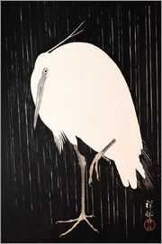 Ohara Koson - White Crane in the rain