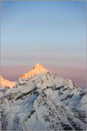 Peter Wey - Weisshorn mountain peak at dawn. View from Gornergrat, Zermatt, Switzerland.