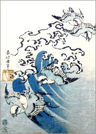 Katsushika Hokusai - Waves and Birds