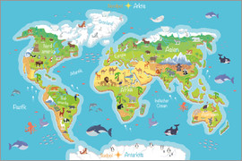 Nursery prints children posters free delivery posterlounge kidz collection world map for children german poster gumiabroncs Choice Image
