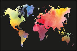 World map in water color