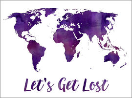 Mod Pop Deco - World map purple