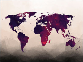 Mod Pop Deco - World Map Reddish Purple