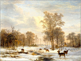 Pieter Gerardus van Os - Winter landscape with stags