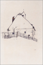 Egon Schiele - Residential house with fence