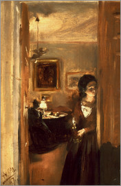 Adolph von Menzel - Living room with Menzels sister
