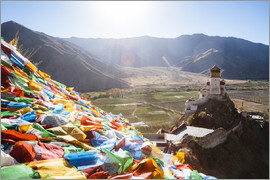 Matteo Colombo - Yungbulakang palace with tibetan prayer flags, Tibet