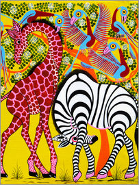 Omary - Zebra with Giraffe in the bush