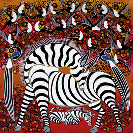 Hassani - Zebra with a large flock of birds
