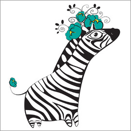Kidz Collection - Zebra with turquoise flower hat