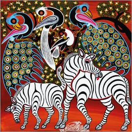 Mzuguno - Zebras with peacock