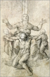 Michelangelo - Drawing of an Urn and Figure with Notes