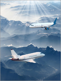 Two aircrafts over the mountains