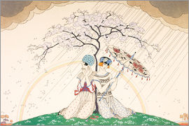 Georges Barbier - Two women sheltering from the rain, under a tree