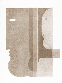 Oskar Schlemmer - Two profiles to the left, one to the right