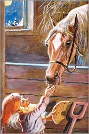 Jenny Nyström - Dwarf feeds the horse in the stable