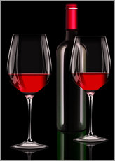 Wall Stickers  Red wine, red wine bottle with two glasses of red wine - Kalle60
