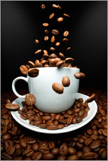 Wall sticker  Falling coffee beans cup - pixelliebe
