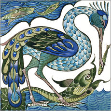 Gallery print  Heron and Fish - Walter Crane