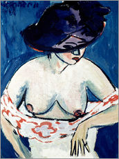 Wall sticker  Half-naked woman with a hat - Ernst Ludwig Kirchner