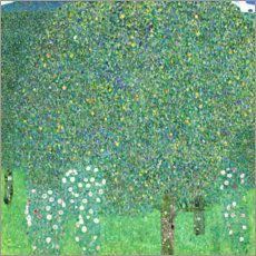 Wood print  Roses under trees - Gustav Klimt