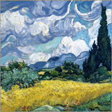 Canvas print  Wheat field with cypresses - Vincent van Gogh