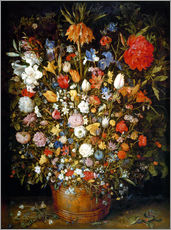 Gallery print  Large bouquet of flowers in a wooden tub - Jan Brueghel d.Ä.