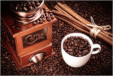 Gallery print  Coffee beans with grinder, cinnamon and cup - pixelliebe
